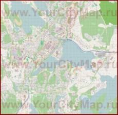 Подробная карта города Ювяскюля с магазинами