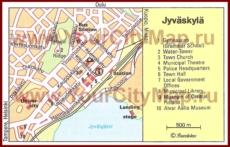 Туристическая карта Ювяскюли с достопримечательностями