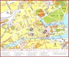 Карта центра Анси с достопримечательностями
