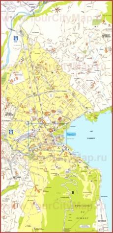 Подробная туристическая карта города Анси