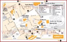 Туристическая карта Анси с отелями и ресторанами
