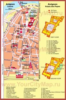 Карта центра Авиньона с достопримечательностями