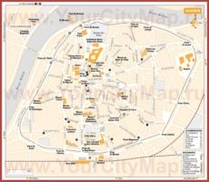 Туристическая карта Авиньона с отелями и ресторанами