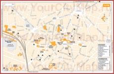 Туристическая карта Дижона с отелями и ресторанами
