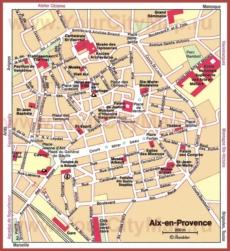 Карта Экс-ан-Прованса с достопримечательностями