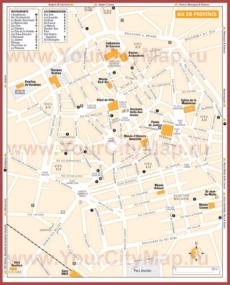 Туристическая карта Экс-ан-Прованса с отелями и ресторанами