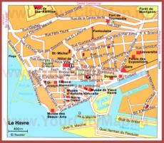 Карта Гавра с достопримечательностями