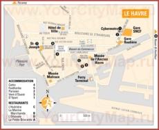 Туристическая карта Гавра с отелями и ресторанами