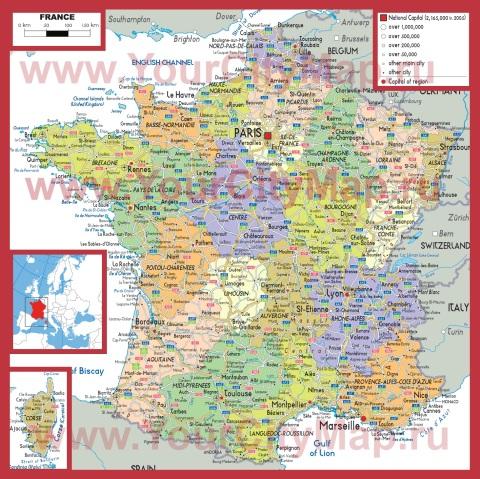 Города Франции на карте