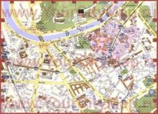 Карта центра Гренобля с достопримечательностями