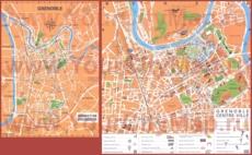 Подробная туристическая карта Гренобля с достопримечательностями