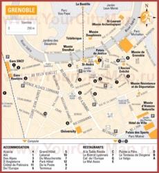 Туристическая карта Гренобля с отелями и ресторанами