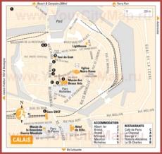 Туристическая карта Кале с отелями и ресторанами