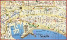 Карта центра Канн с достопримечательностями