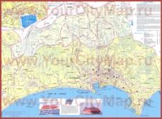 Подробная туристическая карта города Канны