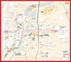 Карта Лиона с достопримечательностями
