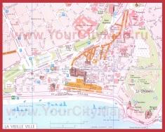 Карта центра Ниццы с достопримечательностями