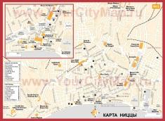 Туристическая карта Ниццы с достопримечательностями на русском языке