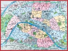 Карта города Париж с округами