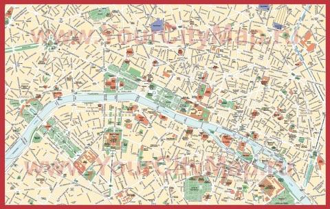 Подробная карта Парижа с улицами