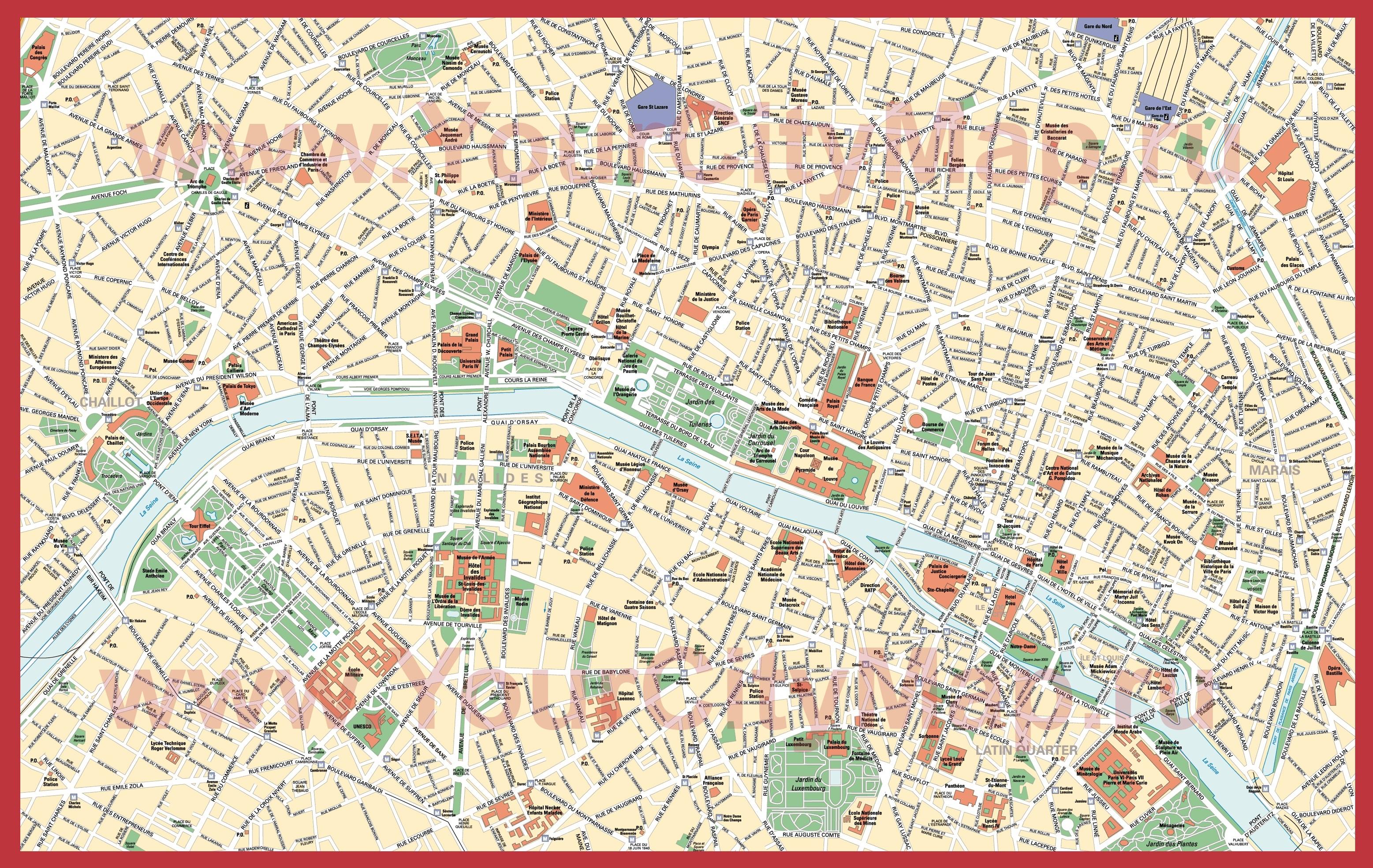 Парижа подробная карта парижа скачать