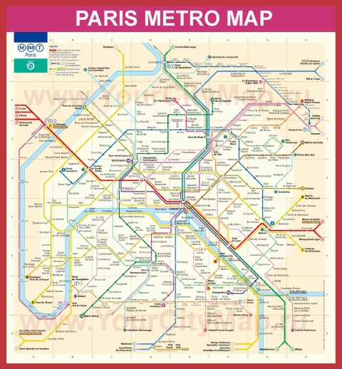 Схема - Карта метро Парижа