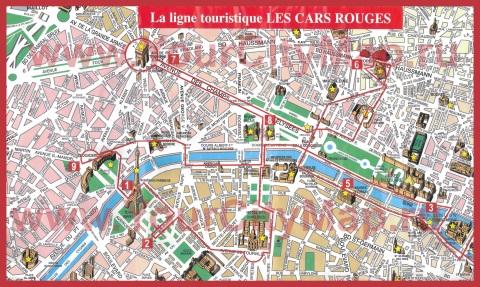 Туристическая карта центра парижа с
