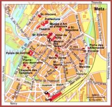 Туристическая карта Меца с достопримечательностями