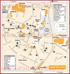 Туристическая карта Монпелье с отелями и ресторанами