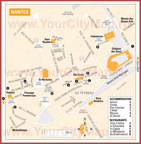 Туристическая карта Нанта с отелями и ресторанами