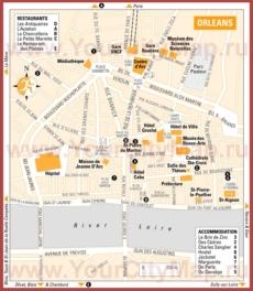 Туристическая карта Орлеана с отелями и ресторанами