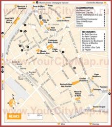 Туристическая карта Реймса с отелями, достопримечательностями и ресторанами