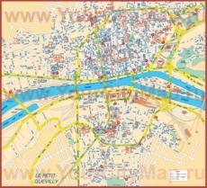 Подробная туристическая карта Руана с достопримечательностями