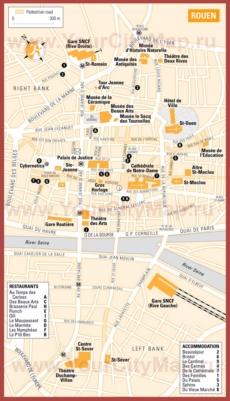 Туристическая карта Руана с отелями и ресторанами