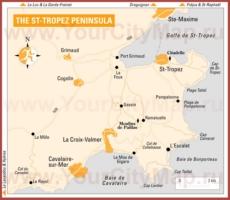Карта побережья Сан-Тропе с окрестностями