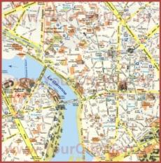 Карта центра Тулузы с достопримечательностями