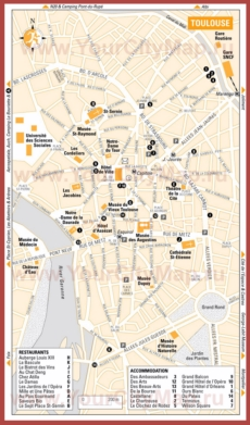 Туристическая карта Тулузы с отелями и ресторанами