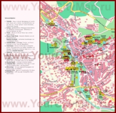 Туристическая карта Баден-Бадена с достопримечательностями