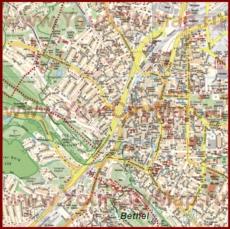 Туристическая карта Билефельда с достопримечательностями