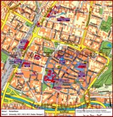 Туристическая карта Фрайбурга с достопримечательностями