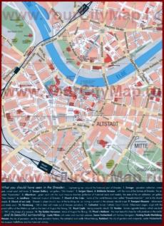 Карта Дрездена с достопримечательностями