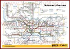 Карта маршрутов транспорта Дрездена