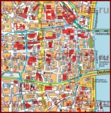 Карта достопримечательностей центра Кёльна