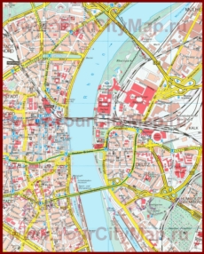 Туристическая карта Кёльна с достопримечательностями