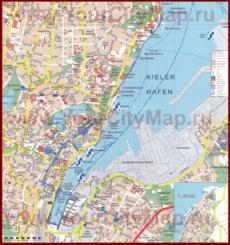 Туристическая карта Киля с достопримечательностями