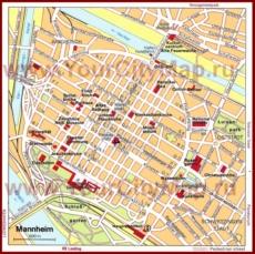 Туристическая карта Мангейма с достопримечательностями