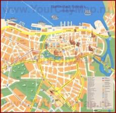 Туристическая карта Ростока с достопримечательностями