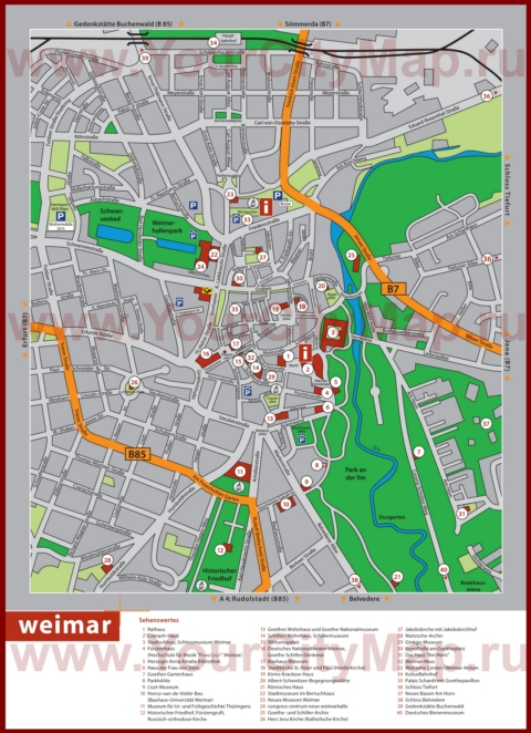 Туристическая карта Веймара с достопримечательностями