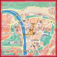 Туристическая карта Вюрцбурга с достопримечательностями