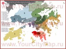 Административная карта Гонконга с районами